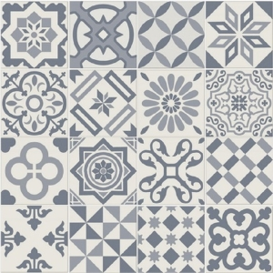 Antigua Blue Patchwork Matt Wall & Floor Tile 200 x 200 mm (Pack Of 25)