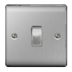 BG Brushed Steel 1 Gang 2 Way Light Switch - NBS12