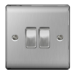 BG Brushed Steel 2 Gang 2 Way Light Switch - NBS42