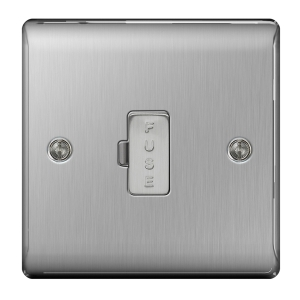 BG Brushed Steel 13A Unswitched Fused Spur - NBS54