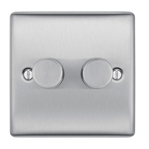 BG Brushed Steel 400W 2 Gang 2 Way Push Dimmer Switch - NBS82P