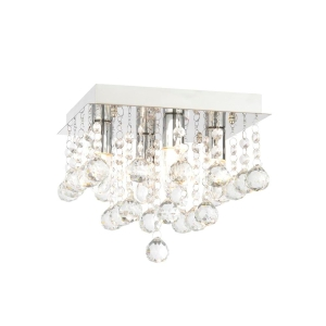 Orlando Square Flush Chrome Ceiling Light Fitting - IP44 Rated