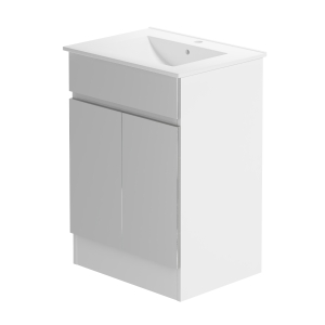 Pure 600 Floorstanding White Gloss & Cool Grey Lucido Vanity Unit