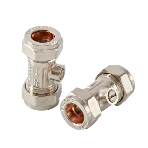 PlumbRight Straight Isolating Valve 15mm Chrome